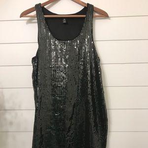H&M black sequin lined mini tank dress size small